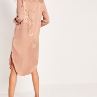 Missguided - Embroidery Back Shirt Dress Nude