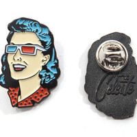 "Limited Edition ""3-D Pin-up Girl"" Enamel Lapel Pin"