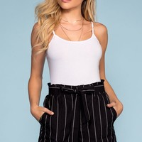 Clairmont High Waisted Stripe Shorts - Black