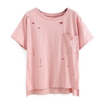 Marcella Baby Pink Ripped Top Pocket Tee