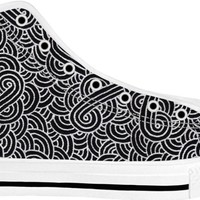 Faux silver and black swirls doodles White High Tops