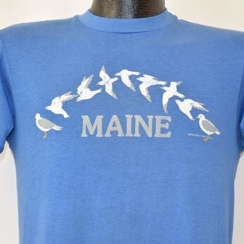 80s Maine Seagulls Flying Vintage Tee Small