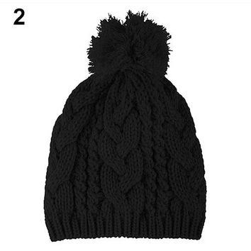 Fashion Winter Warm Women's Men's Knit  Beanie Ball Wool Cuff Hat  Cap 5 Colors