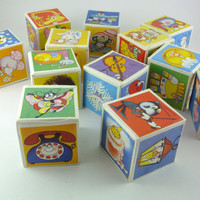 Vintage toy, Cardboard Cubes, Blocks with pictures ,70-s, Made in Bulgaria, Soviet era, set of 12