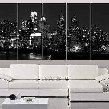 LARGE CANVAS ART Wall Art Canvas Print Philadelphia Skyline by Night + Philadelphia City View Canvas Art Printing + 5 Panel Wall Art Canvas