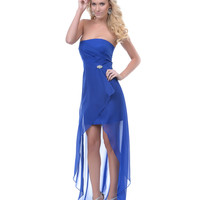 Royal Blue Chiffon Strapless High-Low Prom Dress Prom 2015