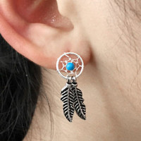 925 Silver Turquoise Fashion Dream Catcher Feather Cartilage Earrings Stud NEW