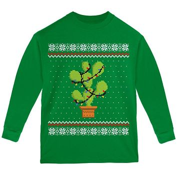 Cactus Prickly Pear Tree Ugly Christmas Sweater Youth Long Sleeve T Shirt