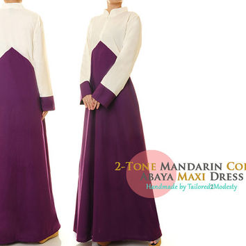 Purple Cotton Linen 2-Tone Mandarin Neckline Long Sleeved Abaya Maxi Dress - Size M/L (6187) FREE SHIPPING!