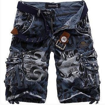 2016 New men summer Camouflage military cargo shorts bermuda masculina jeans male fashion Casual baggy denim shorts plus size 42