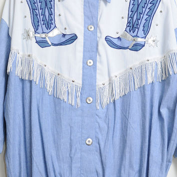 Vintage 80s/90s Western Cowboy South Western Short Sleeve Shirt with Boots and Fringe Unisex