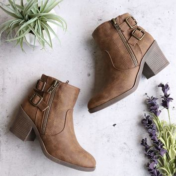 one more dance - faux leather ankle bootie with buckle detail - camel