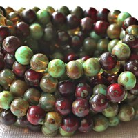 25 6mm Czech glass druk beads, earth tones mix, translucent and opaque greens & reds, smooth round druks, picasso finish C5825