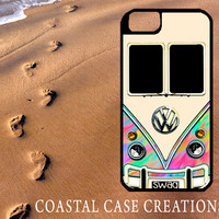 Colorful Watercolor Volkswagen Bus Apple iPhone 4 4G 4S 5G Hard Plastic Cell Phone Case Cover Original Trendy Stylish Design