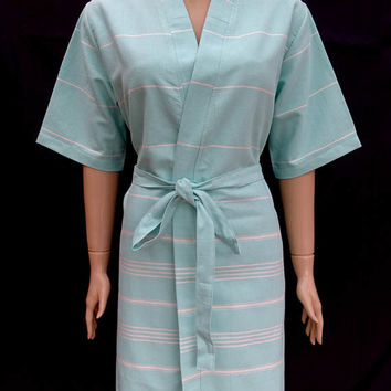 Women's turquoise green colour soft cotton kimono robe, bridal robe, bridesmaid robe, dressing gown.