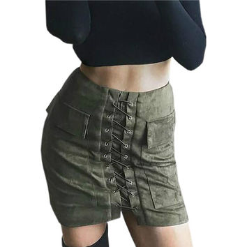 2016 New Fashion Autumn Lace Up Women Mini Skirt Sexy Suede Pencil Bodycon Skirts Vintage Pockets Empire Solid Club Wear M0676