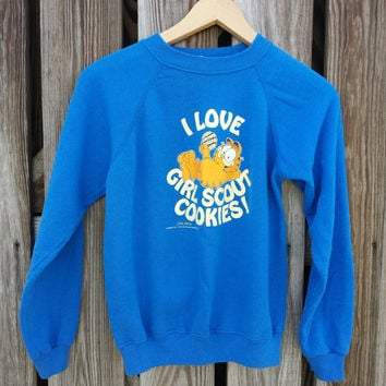 "Vintage Garfield Sweatshirt - Vintage Garfield ""I love Girl Scout Cookies"" Sweatshirt - 1978"
