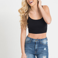 Amy Black Cropped Seamless Cami