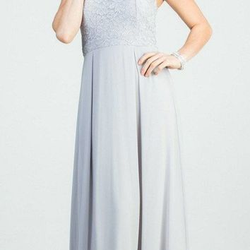 Silver A-Line Long Formal Dress Embellished Neckline
