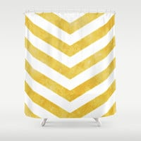 Gold Chevrons Shower Curtain by Kat Mun | Society6