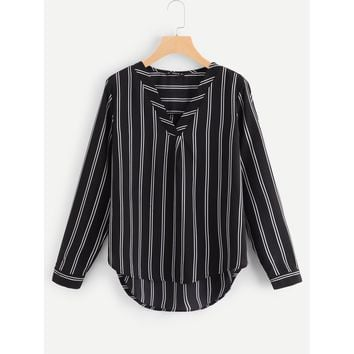 V-Placket Curved Dip Hem Blouse