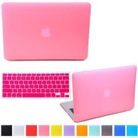 "HDE Rubberized Hard Shell Plastic Case + Matching Keyboard Skin for Macbook Air 11.6"" - Fits Model A1370 / A1465 (Pink)"
