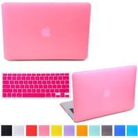 "HDE Rubberized Hard Shell Case + Matching Keyboard Skin for Macbook Air 11.6"" - Fits Model A1370 / A1465 (Pink)"