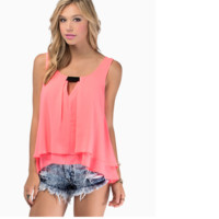 Pink Womens Loose Summer Sexy Pure Color Chiffon Tanks