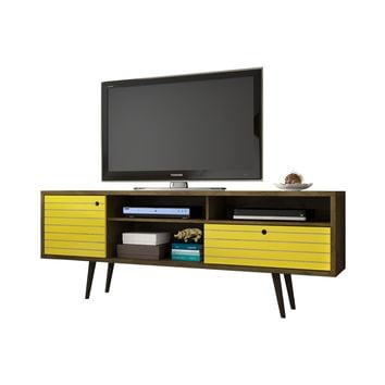 "70.86"" Mid Century - Modern TV Stand w/ 4 Shelving Spaces & 1 Drawer -Brown, Yellow"