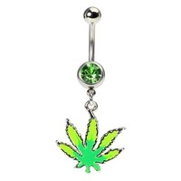 Glow in the Dark Marijuana Navel Ring - Weed - Theme - Belly Button Rings