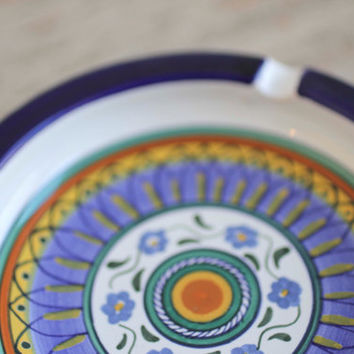 Vintage Ashtray, Handpainted Deruta  Bohemian Decor, Signed by Artist, Boho Gift Ideas, Mandala Design, Blue and Gold, Italy Italian Ash Tra