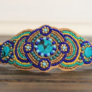 Turquoise Beaded Headband Floral Jewel Beaded Bohemian Style Head Piece Non Slip backing Crushed Velevet Tie on headband