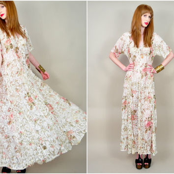 VINTAGE 90s sheer ivory lace rose floral print oversized draped ULTRA full sweep festival boho maxi dress