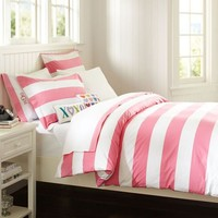 Cottage Stripe Duvet Cover + Sham, Bright Pink