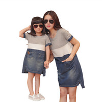Mother daughter matching dresses summer style mommy and me clothes women grey white blue denim patchwork casual loose dress