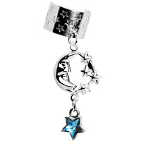 Handcrafted Celestial Star Moon Dangle Ear Cuff MADE WITH SWAROVSKI ELEMENTS | Body Candy Body Jewelry