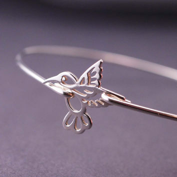 Hummingbird Jewelry, Hummingbird Bracelet, Sterling Silver Bangle Bracelet, Bird Jewelry