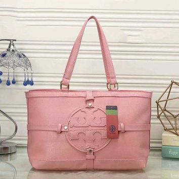 Tory Burch Women Shopping Leather Handbag Tote Satchel Shoulder Bag F-LLBPFSH  Pink