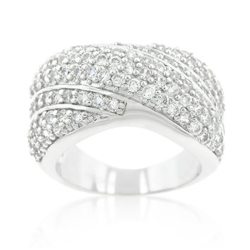 Flair Cluster Fashion Pave Wide Band Ring | 7ct | Cubic Zirconia