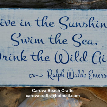 Beach Decor - Beach Sign - Coastal Sign - Coastal Decor - Nautical Decor - Emerson Quote