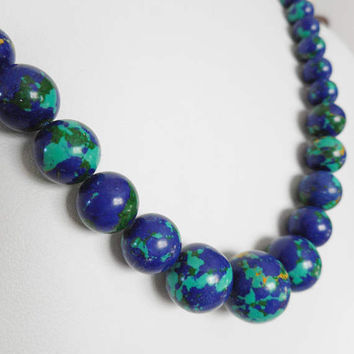 Acrylic Beaded Necklace, Summer Jewelry, Choker Necklace, Blue Necklaces, Round Beaded Necklace, Blue Choker, Blue & Green Beaded Necklace
