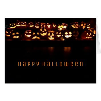 Happy Halloween Funny Pumpkins Candles Lights Card