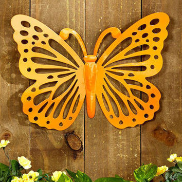 Metal Wall Sculpture Butterfly Indoor Outdoor Home Yard Porch Patio Decor NEW