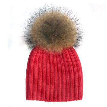 WENDYWU Children Kids Real Raccoon Fur Pompon Winter Hat Bonnet Warm Boys Girls Baby Hats Pom Beanie Thick Knitted Bobble Hat