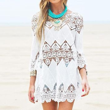 Mini Half Sleeve O-Neck Lace Beach Dress