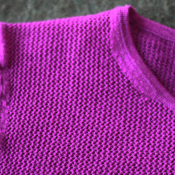 Theory Fitted Wool Open Weave Fuchsia Sweater Xs