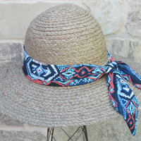 Aztec Hatband, Purse Scarf, Handbag Scarf, Hair Scarf, Hair Wrap, Neck Bow, Women Hatband, Blue Hat Accessory, Teen Idea, Spring Accessories