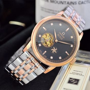 HCXX O047 Omega 25 Jewels Swiss Made Fashion Simple Steel Strap Watches Rose Gold Black