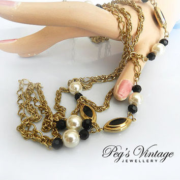 Vintage Gold/Pearl/Black Beaded Double Chain Necklace