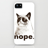NOPE - Grumpy cat. iPhone & iPod Case by John Medbury (LAZY J Studios)
